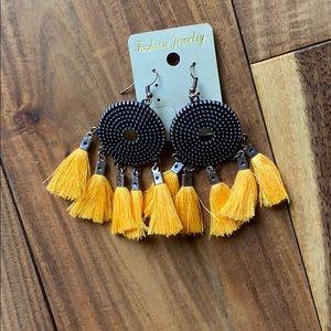 Bronze Earrings with Mustard Yellow Tassels.